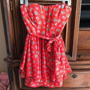 a short floral red dress